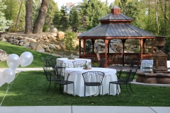 Outdoor reception by the pergola